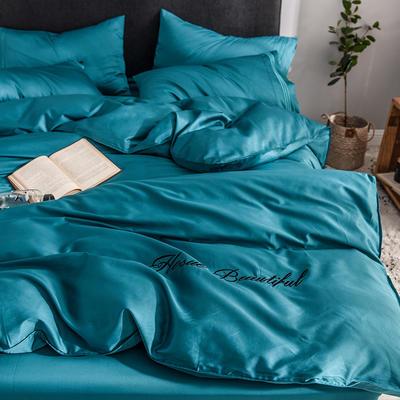 贡缎四件套 长绒棉四件套 床单款60支床上用品 1.2m小号 孔雀蓝