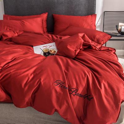 贡缎四件套 长绒棉四件套 床单款60支床上用品 1.2m小号 岁月红