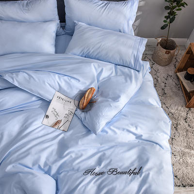 贡缎四件套 长绒棉四件套 床单款60支床上用品 1.2m小号 天真蓝