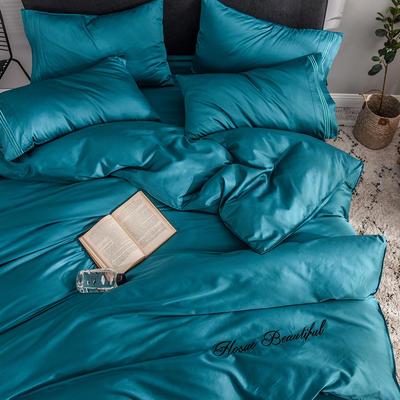 被套 长绒棉被套 贡缎60支单品被罩 恩和家纺 150x200cm 孔雀蓝
