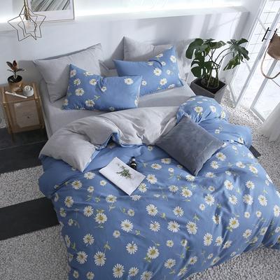 全棉四件套 网红A版全棉B版螺纹缎棉双拼被套 四件套 恩和家纺 2.0m(加大)床 小雏菊蓝