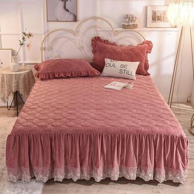 床裙 水晶绒床裙 夹棉保暖床裙 2020 同款枕套 豆沙