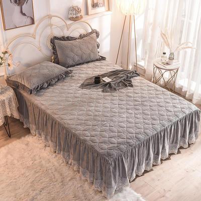 床裙 水晶绒床裙 夹棉保暖床裙 2019 恩和家纺 同款枕套 烟灰