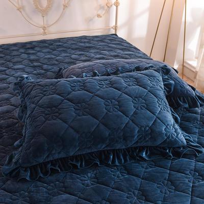 2020 夹棉枕套 保暖枕套 宝宝绒 恩和家纺 48cmX74cm夹棉枕套 水晶绒 宝蓝