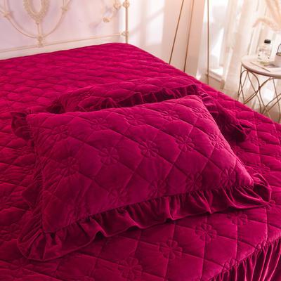 水晶绒夹棉枕套 保暖枕套 2019新品 48cmX74cm夹棉枕套 水晶绒 酒红