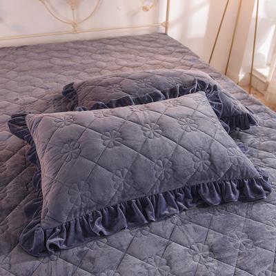 水晶绒夹棉枕套 保暖枕套 2019新品 48cmX74cm夹棉枕套 水晶绒 蓝紫
