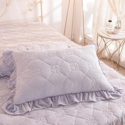 水晶绒夹棉枕套 保暖枕套 2019新品 48cmX74cm夹棉枕套 水晶绒 浅米灰