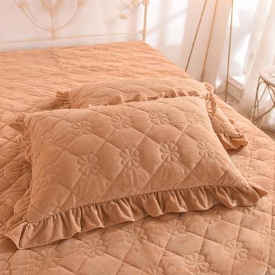 水晶绒夹棉枕套 保暖枕套 2019新品 48cmX74cm夹棉枕套 水晶绒 驼色