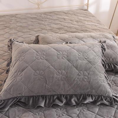 水晶絨夾棉枕套 保暖枕套 2019新品 48cmX74cm夾棉枕套 水晶絨 煙灰