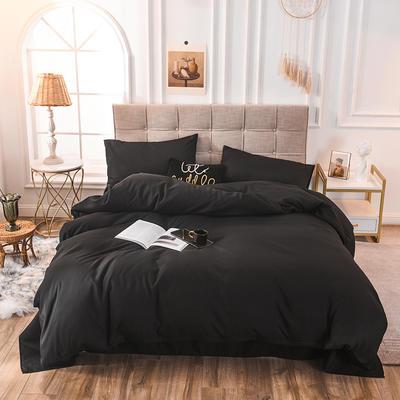四件套 磨毛四件套 化纤磨毛套件 1.2m(床单款) 黑色