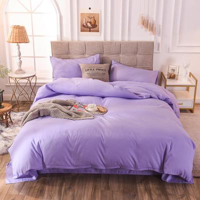 四件套 磨毛四件套 化纤磨毛套件 恩和家纺 2019新品 1.8m(床笠款) 紫色