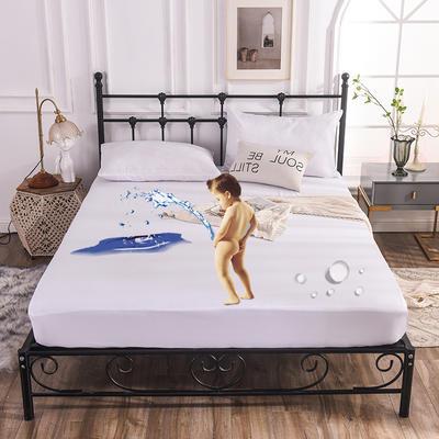 床笠 防水床笠 磨毛化纤防水床护罩 90x200x25cm 防水床笠白色