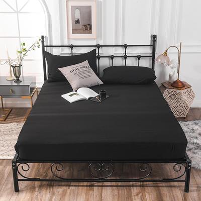 床笠 防水床笠 磨毛化纤防水床护罩 90x200x25cm 防水床笠黑色