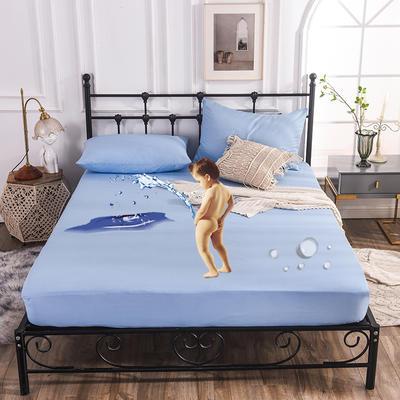 床笠 防水床笠 磨毛化纤防水床护罩 90x200x25cm 防水床笠天蓝
