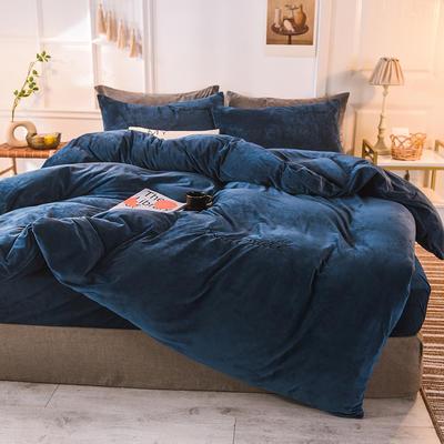 水晶绒四件套 绒被套 保暖四件套2019新品 1.2m(床单款)床 宝蓝