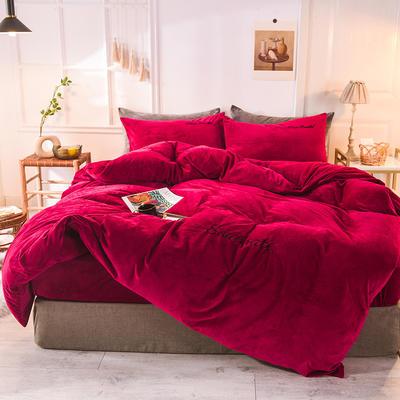 水晶绒四件套 绒被套 保暖四件套2019新品 1.2m(床单款)床 酒红