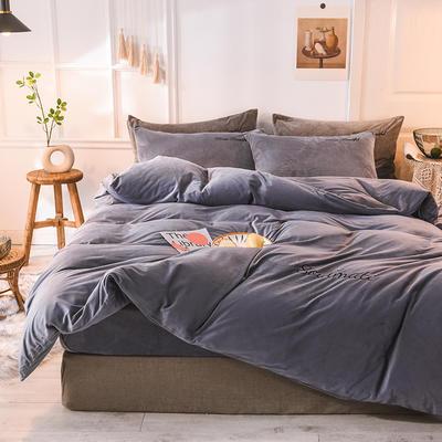 水晶绒四件套 绒被套 保暖四件套2019新品 1.2m(床单款)床 蓝紫