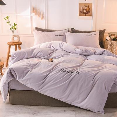水晶绒四件套 绒被套 保暖四件套2019新品 1.2m(床单款)床 浅米灰