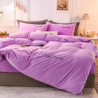 水晶绒四件套 绒被套 保暖四件套2019新品 1.2m(床单款)床 浅紫