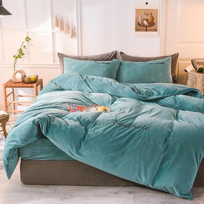 水晶绒四件套 绒被套 保暖四件套2019新品 1.2m(床单款)床 水影蓝