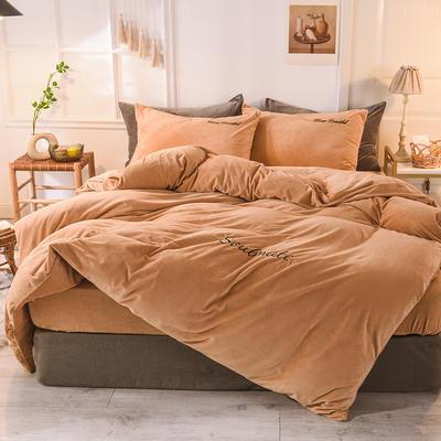 水晶绒四件套 绒被套 保暖四件套2019新品 1.2m(床单款)床 驼色