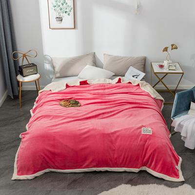 毛绒毯子 法兰绒毯 双层毛毯 保暖毯子 180X200cm 朝气红