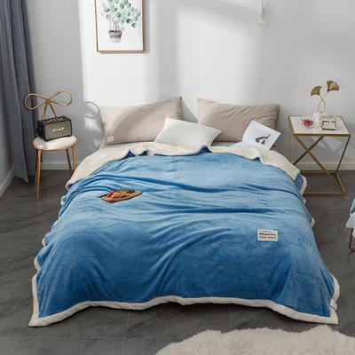 毛绒毯子 法兰绒毯 双层毛毯 保暖毯子 150X200cm 纯真蓝