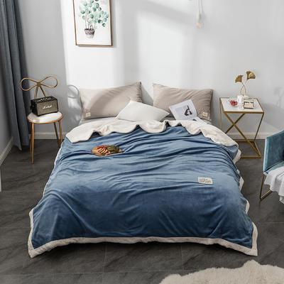 毛绒毯子 法兰绒毯 双层毛毯 保暖毯子 150X200cm 静谧蓝