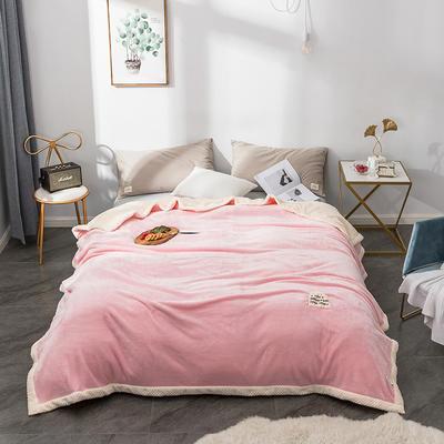 毛绒毯子 法兰绒毯 双层毛毯 保暖毯子 150X200cm 萌萌粉