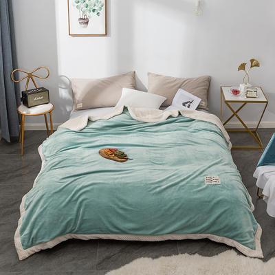 毛绒毯子 法兰绒毯 双层毛毯 保暖毯子 150X200cm 清凉绿