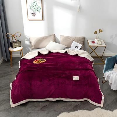 毛绒毯子 法兰绒毯 双层毛毯 保暖毯子 150X200cm 深邃红