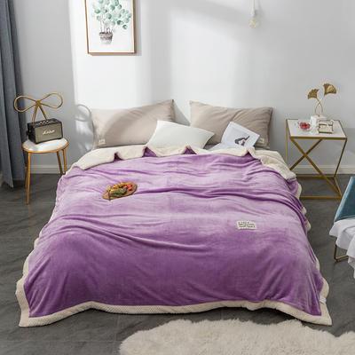 毛绒毯子 法兰绒毯 双层毛毯 保暖毯子 150X200cm 温情紫