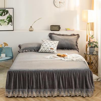床裙 水晶绒床裙 保暖床罩 蕾丝花边床裙 恩和家纺 2019 同款枕套 烟灰
