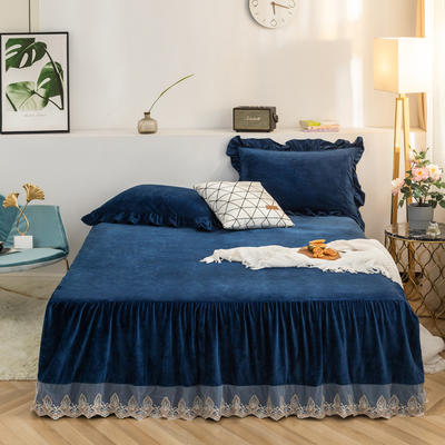 床裙 水晶绒床裙 保暖床罩 蕾丝花边床裙 150cmx200cm 宝蓝