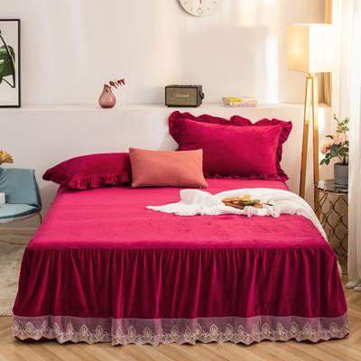 床裙 水晶绒床裙 保暖床罩 蕾丝花边床裙 150cmx200cm 酒红