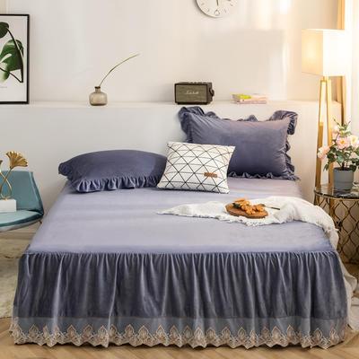 床裙 水晶绒床裙 保暖床罩 蕾丝花边床裙 150cmx200cm 蓝紫