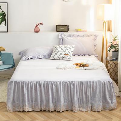 床裙 水晶绒床裙 保暖床罩 蕾丝花边床裙 150cmx200cm 浅米灰