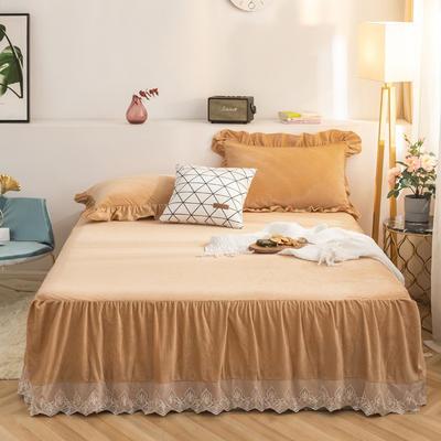 床裙 水晶绒床裙 保暖床罩 蕾丝花边床裙 150cmx200cm 驼色