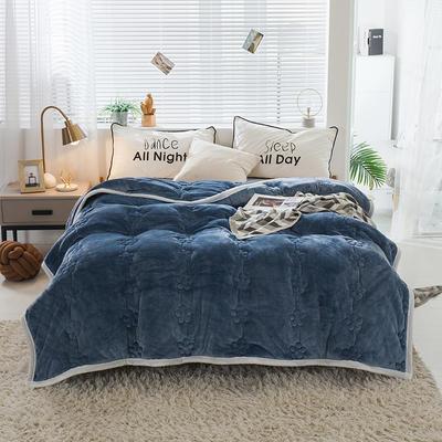毛毯 法兰绒加厚绗缝梅花被毯 加厚保暖毛毯 180cmX200cm 梅花朵朵-深蓝
