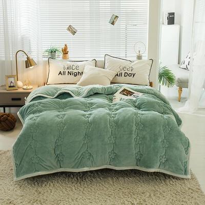 毛毯 法兰绒加厚绗缝梅花被毯 加厚保暖毛毯 180cmX200cm 梅花朵朵-豆绿