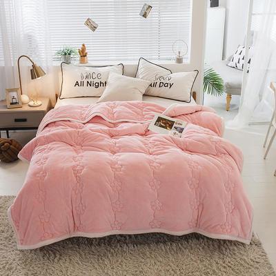 毛毯 法兰绒加厚绗缝梅花被毯 加厚保暖毛毯 180cmX200cm 梅花朵朵-粉玉