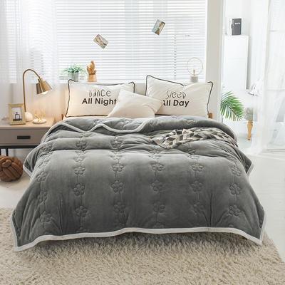 毛毯 法兰绒加厚绗缝梅花被毯 加厚保暖毛毯 180cmX200cm 梅花朵朵-高级灰