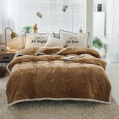 毛毯 法兰绒加厚绗缝梅花被毯 加厚保暖毛毯 180cmX200cm 梅花朵朵-咖啡