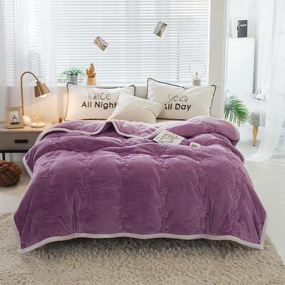 毛毯 法兰绒加厚绗缝梅花被毯 加厚保暖毛毯 180cmX200cm 梅花朵朵-优雅紫