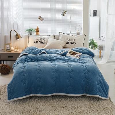 毛毯 法兰绒加厚绗缝梅花被毯 加厚保暖毛毯 恩和家纺 150cmX200cm 梅花朵朵-运动蓝