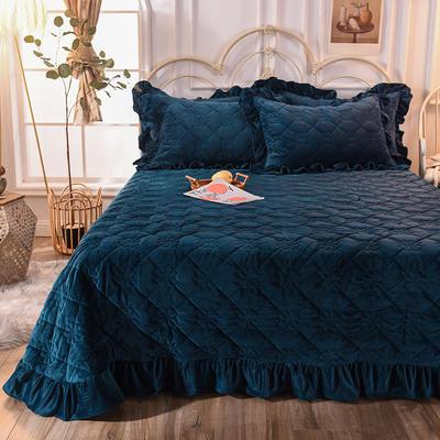 床盖 夹棉床单 水晶绒床盖床裙三件套 190x240cm 适合1.-2-1.3 宝蓝