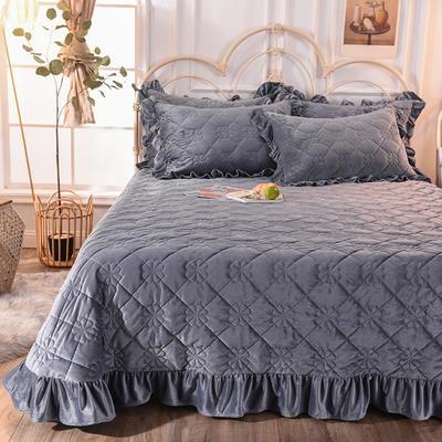 床盖 夹棉床单 水晶绒床盖床裙三件套 190x240cm 适合1.-2-1.3 蓝紫