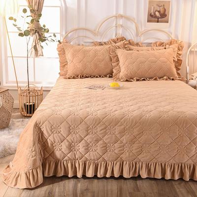 床盖 夹棉床单 水晶绒床盖床裙三件套 190x240cm 适合1.-2-1.3 驼色