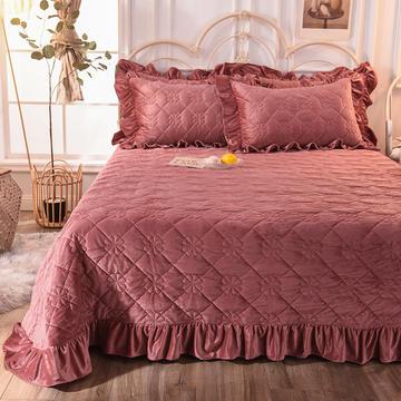 床盖 夹棉床单 水晶绒床盖床裙三件套