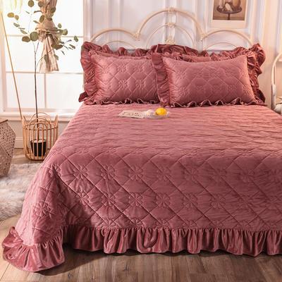 床盖 夹棉床单 水晶绒床盖床裙三件套 240x250床盖三件套 豆沙